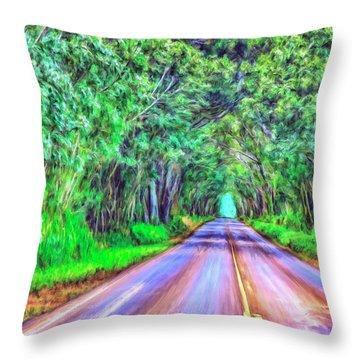 Tree Tunnel Kauai Throw Pillow by Dominic Piperata
