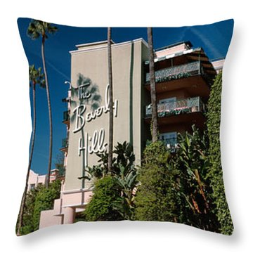 Trees In Front Of A Hotel, Beverly Throw Pillow by Panoramic Images