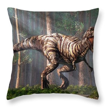 Trex In The Forest Throw Pillow by Daniel Eskridge