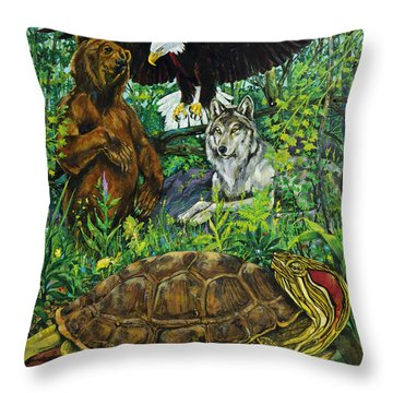 Tribal Gathering Throw Pillow by Derrick Higgins