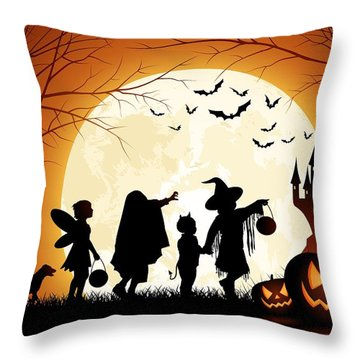 Trick Or Treat Throw Pillow by Gianfranco Weiss