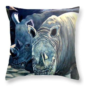 Trio Of Rhino Throw Pillow by Caroline Street