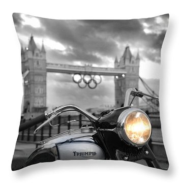 Triumph T100 Throw Pillow by Mark Rogan