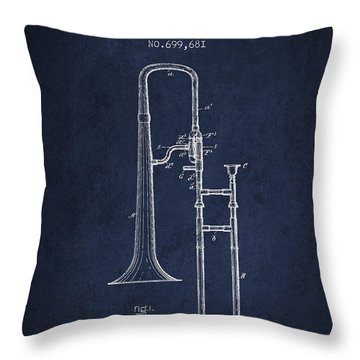 Trombone Patent From 1902 - Blue Throw Pillow by Aged Pixel