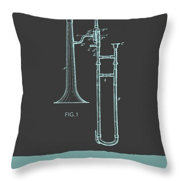 Trombone Patent From 1902 - Modern Gray Blue Throw Pillow by Aged Pixel