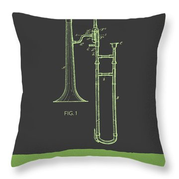 Trombone Patent From 1902 - Modern Gray Green Throw Pillow by Aged Pixel
