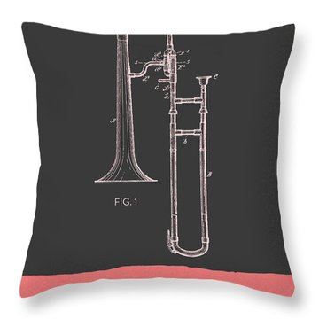 Trombone Patent From 1902 - Modern Gray Salmon Throw Pillow by Aged Pixel
