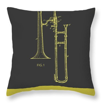 Trombone Patent From 1902 - Modern Gray Yellow Throw Pillow by Aged Pixel