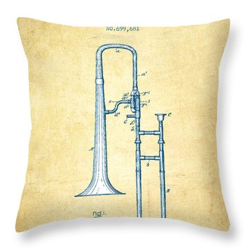 Trombone Patent From 1902 - Vintage Paper Throw Pillow by Aged Pixel