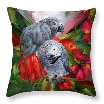 Tropic Spirits - African Greys Throw Pillow by Carol Cavalaris