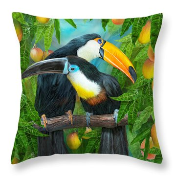 Tropic Spirits - Toucans Throw Pillow by Carol Cavalaris