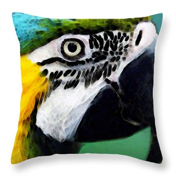 Tropical Bird - Colorful Macaw Throw Pillow by Sharon Cummings