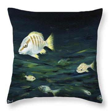 Tropical Fish Throw Pillow by Anastasiya Malakhova