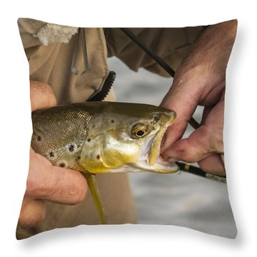 Trout Dentistry Throw Pillow by Jean Noren