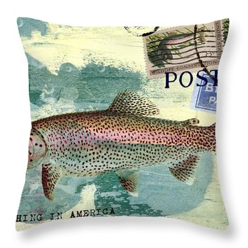 Trout Fishing In America Postcard Throw Pillow by Carol Leigh
