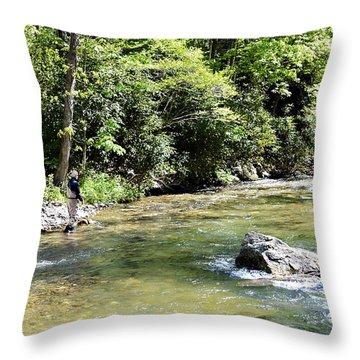 Trout Fishing Throw Pillow by Susan Leggett