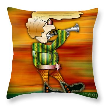 Trumpet Player Throw Pillow by Marvin Blaine