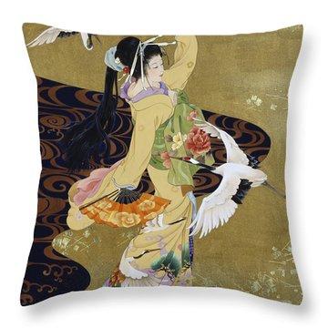 Tsuru No Mai Throw Pillow by Haruyo Morita