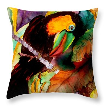 Tu Can Toucan Throw Pillow by Lil Taylor