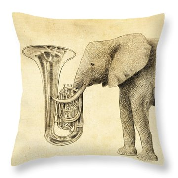 Tuba Throw Pillow by Eric Fan