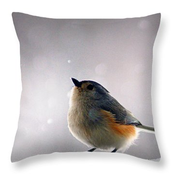Tufted Titmouse Throw Pillow by Cricket Hackmann