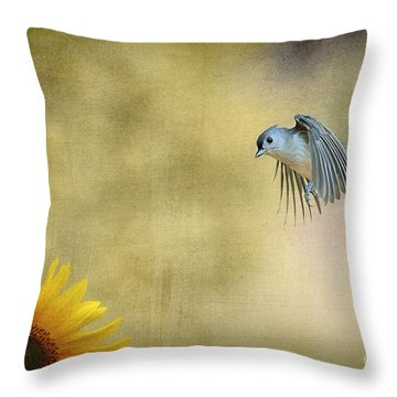 Tufted Titmouse Flying Over Flower Throw Pillow by Dan Friend