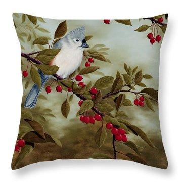 Tufted Titmouse Throw Pillow by Rick Bainbridge