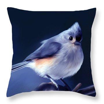 Tufty The Titmouse Throw Pillow by Pennie  McCracken