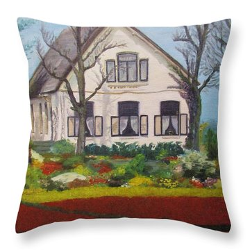 Tulip Cottage Throw Pillow by Martin Howard