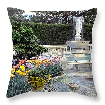 Tulips And Fountain Throw Pillow by Terry Reynoldson