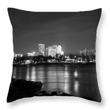 Tulsa In Black And White - University Tower View Throw Pillow by Gregory Ballos