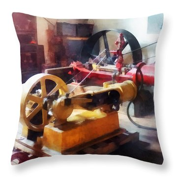 Turn Of The Century Machine Shop Throw Pillow by Susan Savad