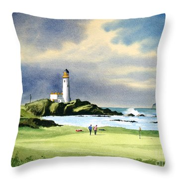 Turnberry Golf Course Scotland 10th Green Throw Pillow by Bill Holkham