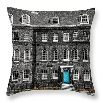 Turquoise Doors At Tower Of London's Old Hospital Block Throw Pillow by James Udall