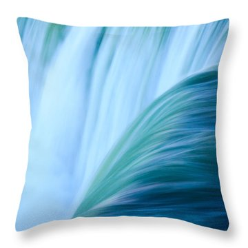 Turquoise Blue Waterfall Throw Pillow by Peta Thames