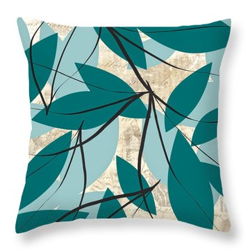 Turquoise Leaves Throw Pillow by Lourry Legarde