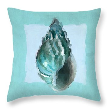 Turquoise Seashells V Throw Pillow by Lourry Legarde