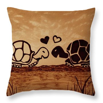 Turtles Love Coffee Painting Throw Pillow by Georgeta  Blanaru
