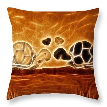 Turtles Love Fractalius Throw Pillow by Georgeta Blanaru