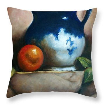 Tuscan Blue Pitcher Still Life Throw Pillow by Melinda Saminski