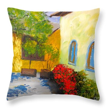 Tuscany Courtyard 2 Throw Pillow by Pamela  Meredith