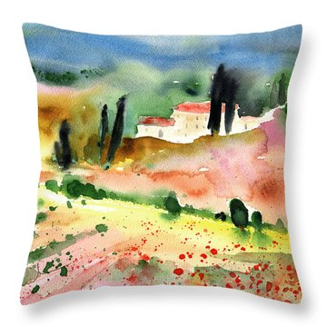 Tuscany Landscape 02 Throw Pillow by Miki De Goodaboom