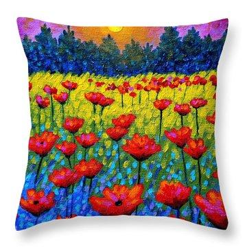 Twilight Poppies Throw Pillow by John  Nolan