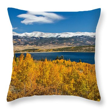 Twin Lakes Colorado Autumn Snow Dusted Mountains Throw Pillow by James BO  Insogna
