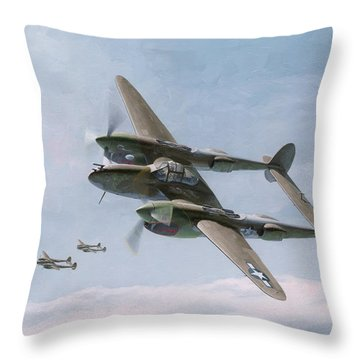 Twin-tailed Dragons Throw Pillow by Wade Meyers