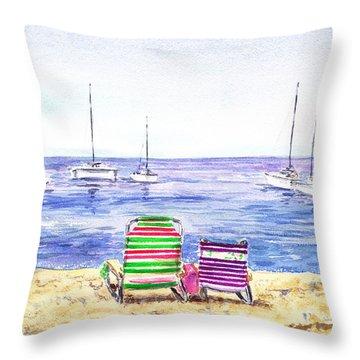 Two Chairs On The Beach Throw Pillow by Irina Sztukowski