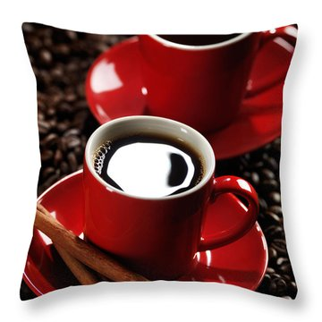 Two Cups Of Coffe On Coffee Beans Throw Pillow by Oleksiy Maksymenko