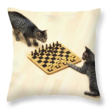 Two Grey Tabby Cats Playing Throw Pillow by Thomas Kitchin & Victoria Hurst