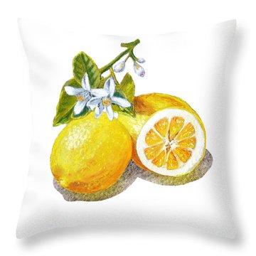 Two Happy Lemons Throw Pillow by Irina Sztukowski
