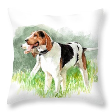 Two Hounds Throw Pillow by Debra Jones